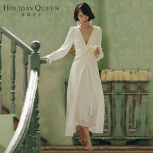 度假女waV领秋沙滩ke礼服主持表演女装白色名媛连衣裙子长裙