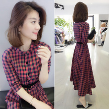 欧洲站wa衣裙春夏女ls1新式欧货韩款气质红色格子收腰显瘦长裙子