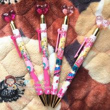 学生文具芭比公主水晶桃心侧按wa11动铅笔ls 可爱儿童活动铅笔HB