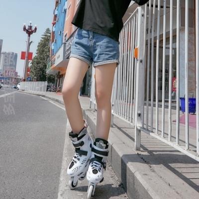 成的初wa者可调溜冰ls单排滑轮闪光女滑冰速滑春季新式直排