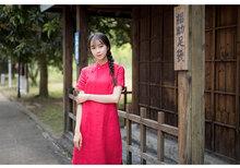复古亚麻棉麻连衣裙中长式短袖夏修身wa14瘦旗袍te文艺女装
