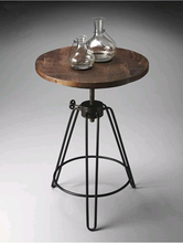 现代简wa茶几 边几mh(小)圆桌实木仿古铁艺古典茶桌椅组合