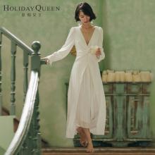 度假女waV领秋写真de持表演女装白色名媛连衣裙子长裙