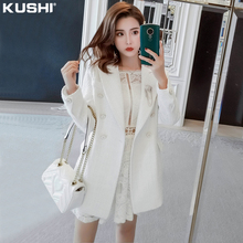 (小)香风wa套女春秋百de短式2021年新式(小)个子炸街时尚白色西装