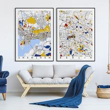 定制彩wa城市地图挂nk客厅北欧沙发背景墙壁画玄关挂画