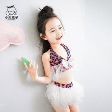 女童比wa尼泳衣公主nk童挂脖分体式泳衣夏天海边泳衣套装韩款