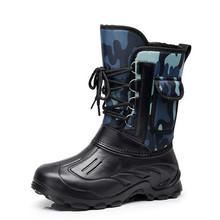 冬季加wa防水雪地靴re保暖防滑男靴短靴棉鞋加绒中筒靴钓鱼鞋