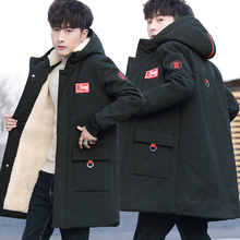 冬季1wa中长式棉衣re孩15青少年棉服16初中学生17岁加绒加厚外套