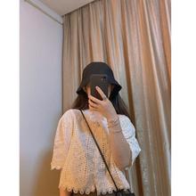 【现货wa短式米色(小)iw接蕾丝花边(小)衫系扣夏季衬衫短袖