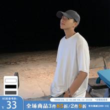 ONEwaAX夏装新ie韩款纯色短袖T恤男潮流港风ins宽松情侣圆领TEE
