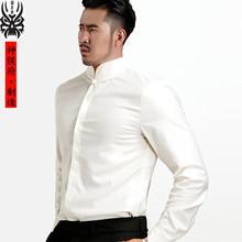 神侯府wa创春夏中国er立领衬衫商务休闲长袖白中式暗扣衬衣男