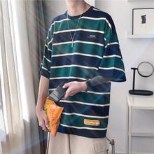 条纹短waT恤男生潮er个性时尚潮牌学生宽松百搭t日系原宿港风T恤