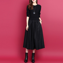 韩款拼wa假两件中长yj裙2020秋冬纯色显瘦打底裙羊毛针织裙女