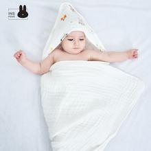 婴儿纯wa洗澡带帽浴bi宝宝超柔纱布吸水超软宝宝毛巾被子