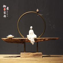 新中式wa瓷客厅佛像ap件风化木家居饰品实木根艺木雕客厅茶室