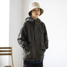 Epiwbsocotgw019秋装韩系军事风徽章连帽工装外套 男女式宽松夹克