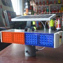 太阳能wb示灯爆闪灯jxED四灯智能施工红蓝路障灯