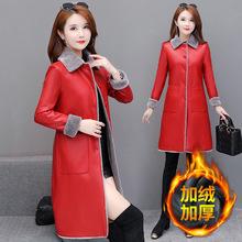 中青年wc式冬季加绒hp衣外套中长式中年妇女风衣妈妈大衣外穿