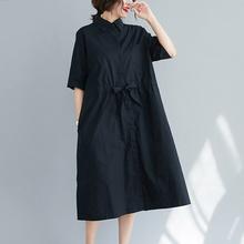 韩款翻wd宽松休闲衬of裙五分袖黑色显瘦收腰中长式女士大码裙