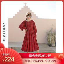CICISHOwd4 20Apk红/圆领灯笼袖格子宽松百褶雪纺过膝女长裙