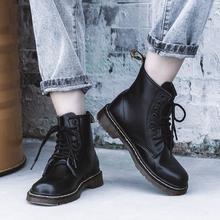 真皮1wd60马丁靴pw风博士短靴潮ins酷秋冬加绒雪地靴黑色六孔
