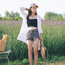 防晒衣wd中长式20ze夏季新式韩款喇叭袖仙气雪纺上衣开衫薄外套