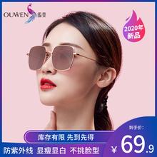 瓯雯太wd眼镜女防紫ze镜大框圆脸显瘦偏光镜光学防蓝光眼镜架