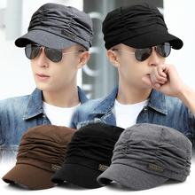 韩款休wd褶皱时装帽ze堆堆帽春夏季薄式平顶帽男遮阳鸭舌帽女