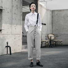 SIMweLE BLre 2021春夏复古风设计师多扣女士直筒裤背带裤