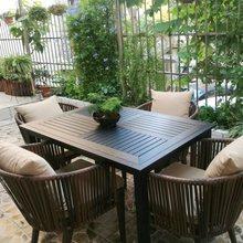 户外桌we别墅庭院花de休闲露台藤椅塑木桌组合室外编藤桌椅