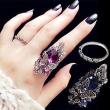 韩款时we复古食中指in镶钻水晶装饰戒指简约个性潮的学生饰品