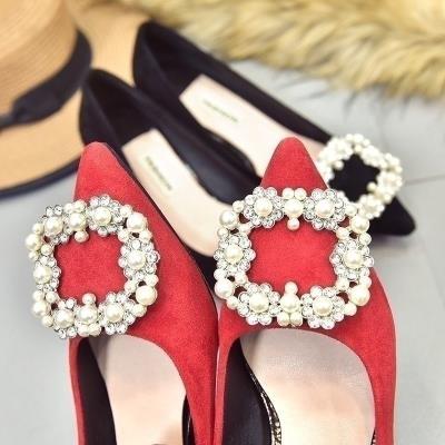 单鞋平we婚纱婚鞋女mscm中式细跟红鞋尖头新娘鞋中跟新式结婚