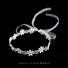一朵雏菊!蕾丝花朵chokewe11少女心ms品颈带项链锁骨链颈链