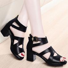 31凉鞋女20we0新款夏季or嘴女士粗跟高跟鞋厚底百搭中跟时尚