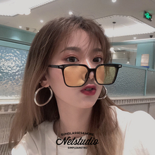 NETweStudiik方形彩色透明式式方框装饰墨镜(小)脸网红港风太阳镜