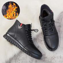 妈妈鞋we季棉鞋加绒un的短靴平底防滑中老年女鞋中年冬鞋皮鞋