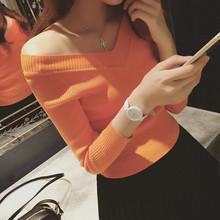 韩款Vwe打底衫短式un搭(小)衫长袖t恤秋冬针织衫女式上衣螺纹厚