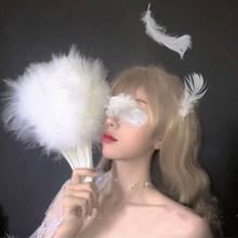 。道具we暗萝莉病娇uo洛丽塔复古风国风白色羽毛走秀旗袍