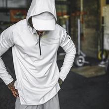 春季速we连帽健身服qi跑步运动长袖卫衣肌肉兄弟训练上衣外套