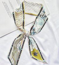 202we新式(小)长条tb能丝带发带绑包包手柄带飘带仿真丝领巾