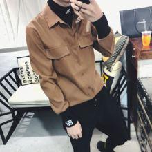 秋冬新weins超火ra抖音时尚男双B字母绣花个性假两件衬衫