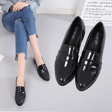 单鞋女we021春季yc女鞋韩款百搭平底(小)皮鞋女黑色工作鞋乐福鞋