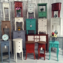 欧式复古wf1旧实木玄fm视柜花几床头柜家居民宿软装创意设计