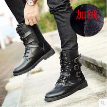 秋季男wf马丁靴男韩dw男士靴子中筒系带棉靴尖头皮靴高帮鞋