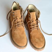 Feewf全皮复古潮dw马丁靴短靴女春夏学生工装靴情侣靴粗跟