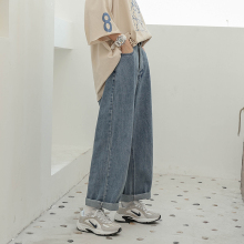 牛仔裤wf秋季202mr式宽松百搭胖妹妹mm盐系女日系裤子