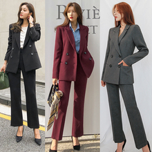 韩款新wh时尚气质职tw修身显瘦西装套装女外套西服工装两件套