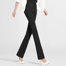 雅思诚wh裤微喇直筒ng女春2021新式高腰显瘦西裤黑色西装长裤