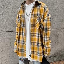 欧美高whfog风中re子衬衫oversize男女嘻哈宽松复古长袖衬衣