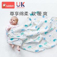婴儿浴wh新初生宝宝re纱布秋冬纯棉柔软速干吸水毛巾宝宝盖毯